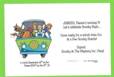 proste zaproszenie Scooby Doo