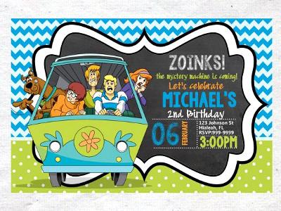 Zaproszenie na urodziny Scooby Doo - wehikuł