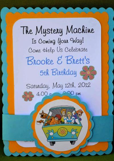 zaproszenie na urodziny dla dzieci - Scooby Doo, wehikuł i Tajemnicza Spółka
